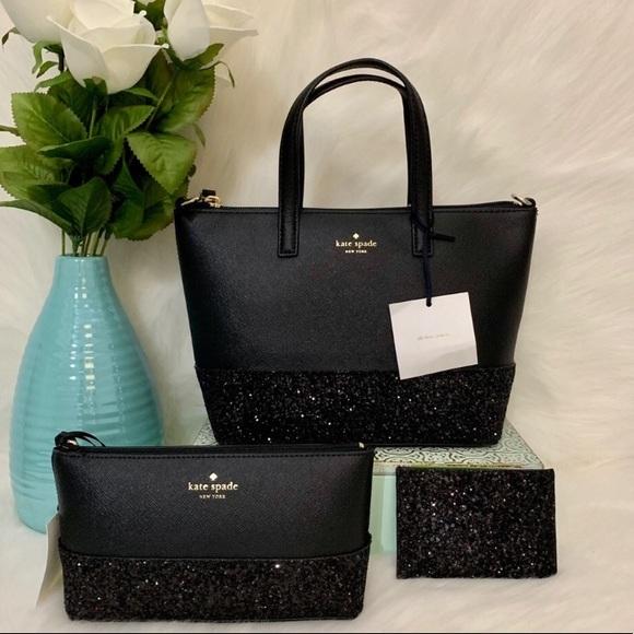 kate spade Handbags - ! HOT ITEM ! Kate spade Greta Court glitter bundle